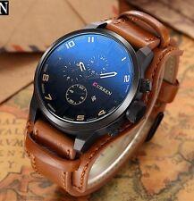 Montre Militaire Sport Homme Top MarCurren Quartz Date Large Bracelet Cuir