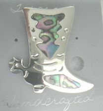 Pin/Brooch Cowboy Boot Abalone Shell Alpaca spurs new