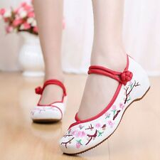 Fashion Women Embroidered Chinese Floral Style Wedge Flat Ballet Single Shoes