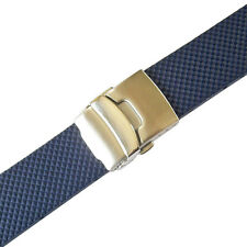 20mm Bonetto Cinturini Model 300D Blue Waffle Rubber Deployant Watch Band Strap