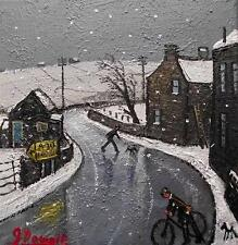 Snow on the A30  : Original BEST Oil Painting  Famous Artist James Downie