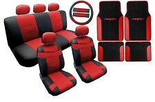 18PC Synthetic Leather Black Red Car Seat Covers Steering Wheel Floor Mats HS2