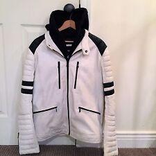 Mens Express Black and White Racer Jacket, Coat with Hood Size Medium $249 EUC