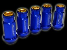 20PC 12X1.5MM 50MM EXTENDED ALUMINUM RACING CAPPED LUG NUTS BLUE/GOLD C
