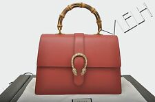 GUCCI 3300$ New Red Leather Dionysus Bamboo Top Handle Bag