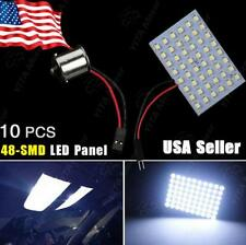 10 X Cool White 48-SMD Panel Dome Map Interior Light Lamps + BA15S 1156 Adapter