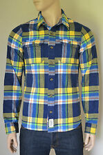 NEW Abercrombie & Fitch Railroad Notch Flannel Shirt Navy Blue & Yellow Plaid M