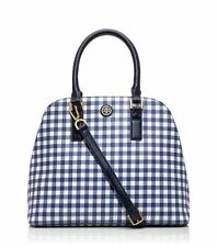 CYBER SALE NWT Tory Burch Kerrington Dome Satchel Navy & White Gingham-$450