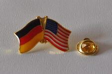 FREUNDSCHAFTSPIN PIN ANSTECKER DEUTSCHLAND / USA FAHNE BUTTON METALL PINS NEU