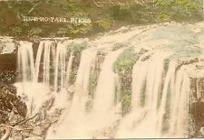 4 early hand colored images of Japan water fall identified tinted Yudaki,Nikko #