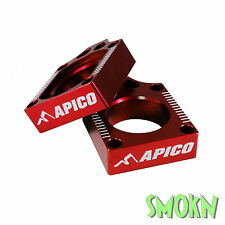 Apico Rear Axle Adjuster Blocks Honda CRF 250 450 R & X 04-17 CRF450R 02-17 Red