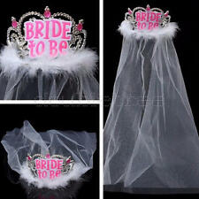 Bride To Be Crown Veil Headwear Bachelorette Girls Night Hen Party Decorations