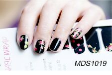 16 Pcs Nail Wrap Nail Patch Self-adhesive Decals Stickers Black Flower MDS1019