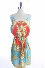 New C.WONDER Ornate Scrolls GOLD ORANGE BLUE DRESS w/ Chains SIZE 12
