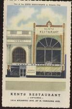 Postcard ATLANTIC CITY NJ Kents Restaurants1930's?