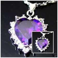 Heart of the ocean purple amethyst CZ pendant necklace