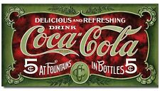 Coca Cola Metal TIN Sign Coke 5 Cent 1900s Advertising Retro Vintage Look