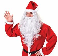 Mens White Santa Clause Fancy Dress Father Christmas Costume Wig + Beard BW574