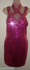 Niteline Della Roufogali NWT 8 Dress Fuchsia Magenta Sequin Beaded Wedding Party