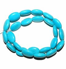 T296f Blue Turquoise 17x13mm Flat Puffed Oval Magnesite Gemstone Beads 16""