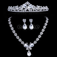 New Wedding Bridal Flower Butterfly Headband Tiara Necklace Earrings Jewelry Set