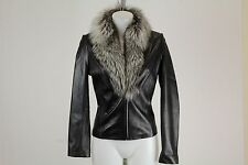 Cache Black Fur Trimmed Leather Jacket Size 2