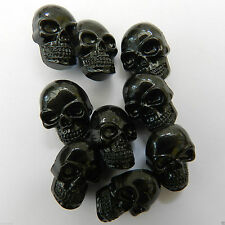 5 x black skull buttons - shank on back 17mm x 11mm