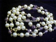 Necklace-Kirks Folly Elements-Cream Pearl Bead-Crystal-Strand-Gold Tone Metal