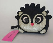 Betsey Johnson HEDGEHOG Cosmetic Bag BM18710 BLACK Quilted HEARTS Silver Glitter