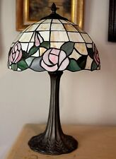 Stained Glass Lamp Tiffany Style Slag Glass Lamp Shade Pink Roses Green Leaves