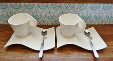 2 Sets -Villeroy & Boch 'New Wave Caffe ' 10 oz Cup / Mug, Tray, & Spoon