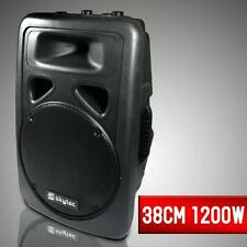 "DJ PA AKTIV LAUTSPRECHER MONITOR BOX 38CM SUBWOOFER 15"" AKTIVBOX PARTY SPEAKER"