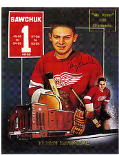 "Terry Sawchuk, ""Mr Zero"" commemorative 8 x 10 card with facsimile autograph"
