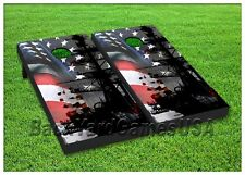 CORNHOLE BEANBAG TOSS GAME w Bags 24X48 American Patriotic Flag Navy Ship Set 36