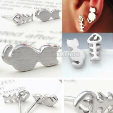Fashion Lovely Cute Women Silver Cute Cat + Fish Bone Ear Studs Piercing Earring