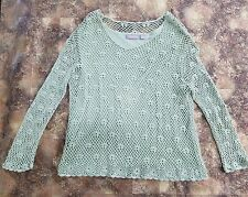 CROFT & BARROW Green CROCHET LAYERED LONG SLEEVE KNIT TOP BOHEMIAN BOHO XL