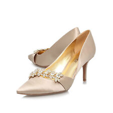 NINE WEST CHAMPAGNE SATIN KRISTA2 DIAMONTE STILETTO SHOES ..  UK 3    US 5