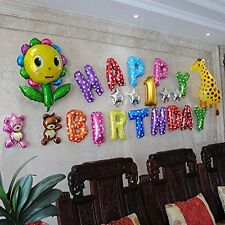 """16"""" Happy Birthday Party Foil Balloons 13 Letters Colorful Reusable Decoration"""