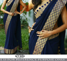Bollywood Designer Sarees- Royal Blue Attractive Women Party Wear Ethnic Saree