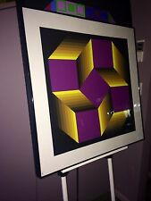 BEAUTIFUL VICTOR VASARELY OP ART SILKSCREEN HAND SIGNED NUMBERED PRO FRAME