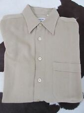 LORENZINI Made in Italy Textured Twill Straight Collar Beige Sport Shirt Size L