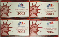 2003-S, 2004-S, 2005-S, 2006-S US MINT SILVER PROOF SET W/BOX&COA (SET OF 4)
