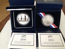 (2) 2010-W American Veterans Disabled for Life Commemorative Silver Dollars