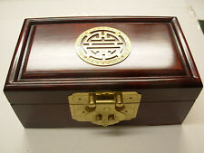 Small Antique Dark Rosewood Huali Jewllery Box with brass inlay