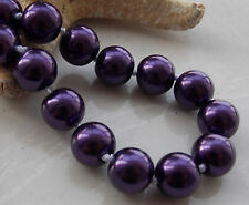 AAA 10mm Deep Purple South Sea Shell Pearl Round Beads Necklace 18'' F-12