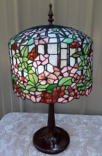 "26"" TIFFANY STYLE STAINED GLASS FLORAL APPLE BLOSSOM LAMP"