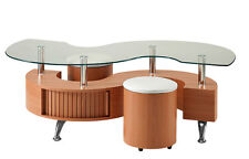 S Shape Curve Glass Coffee Table Beech Wood 2 Stools and Storage Wave Design New