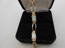 Gorgeous Heavy Estate 14k Solid Yellow Gold Diamond & Opal Tennis Bracelet