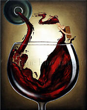 Limited Edition Giclee of Artist Original Woman Red Wine Art Bottle Painting