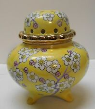 Yellow Footed Lidded Jar with Cherry Blossoms Purple Designs Cut Out Hole Lid
